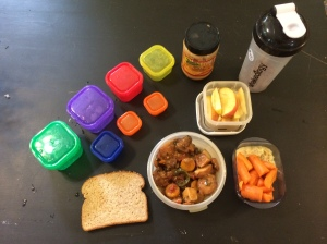 You can see the portion containers. I have already measured out my breakfast, lunch, and snacks for tomorrow.